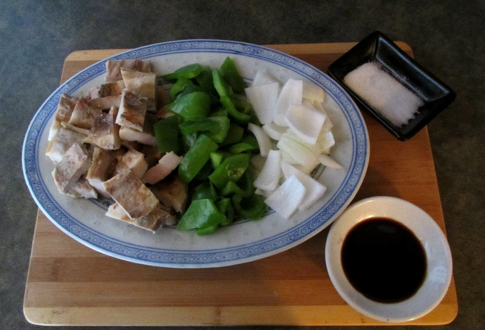 The Ingredients for Crispy Pork with Green Peppers