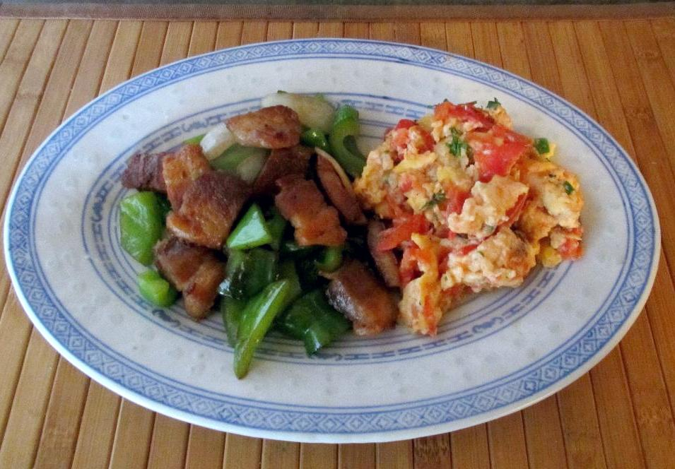 Crispy Pork Belly served with Tomato Scrambled Eggs